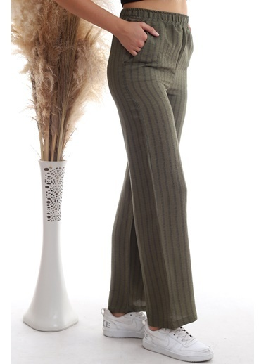 Cottonmood 20333459 Keten Çizgi Desenli Cepli Pantolon Hardal Haki